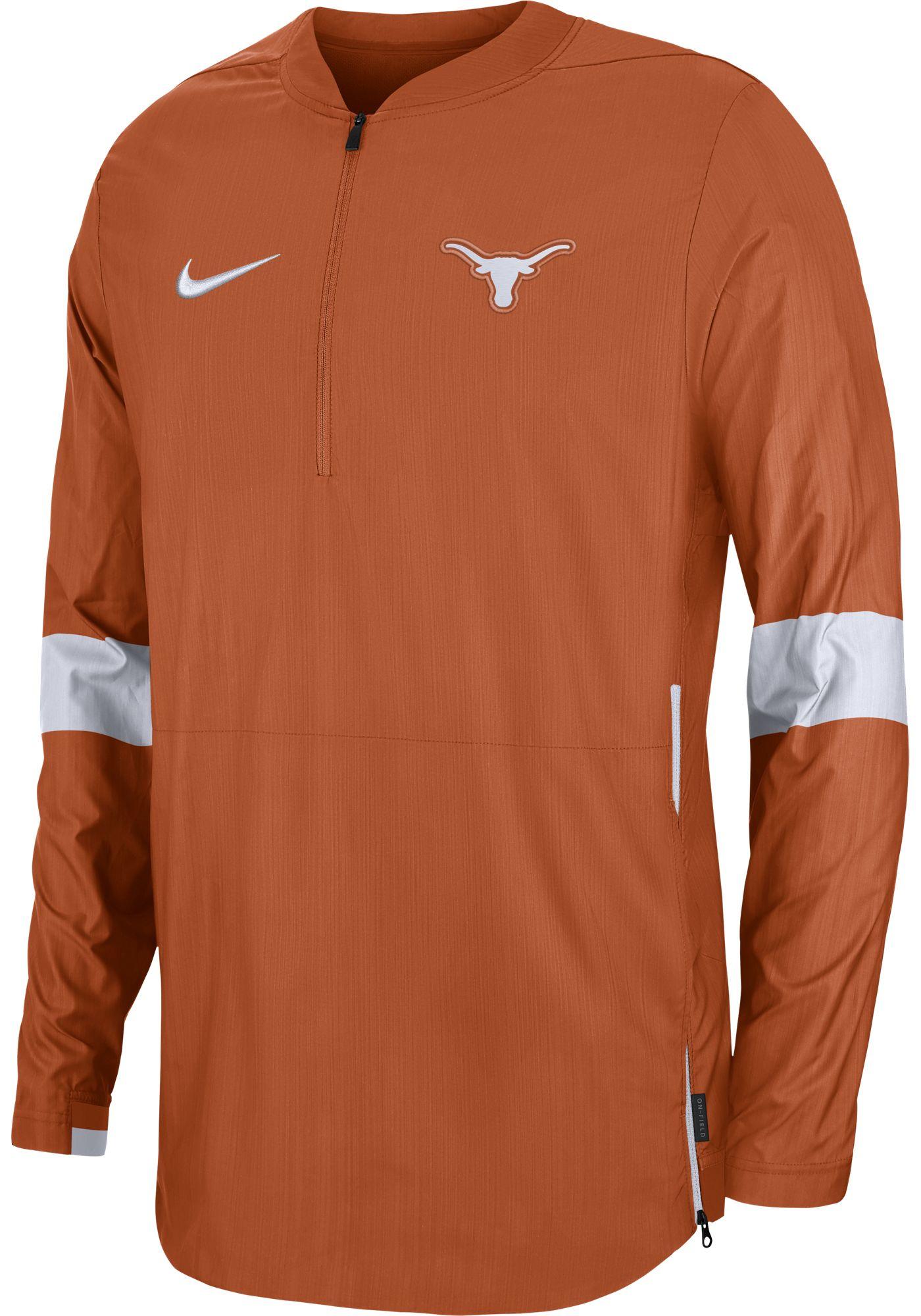 Nike Men's Texas Longhorns Burnt Orange Lockdown Half-Zip Football Jacket