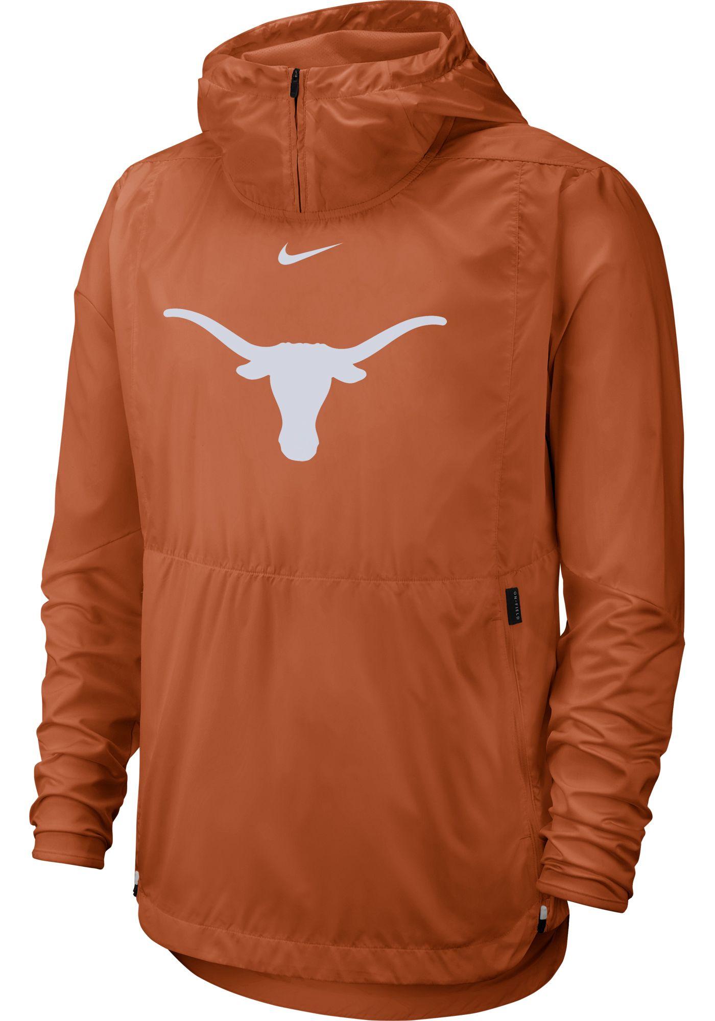 Nike Men's Texas Longhorns Burnt Orange Repel Football Sideline Player Pullover Hoodie