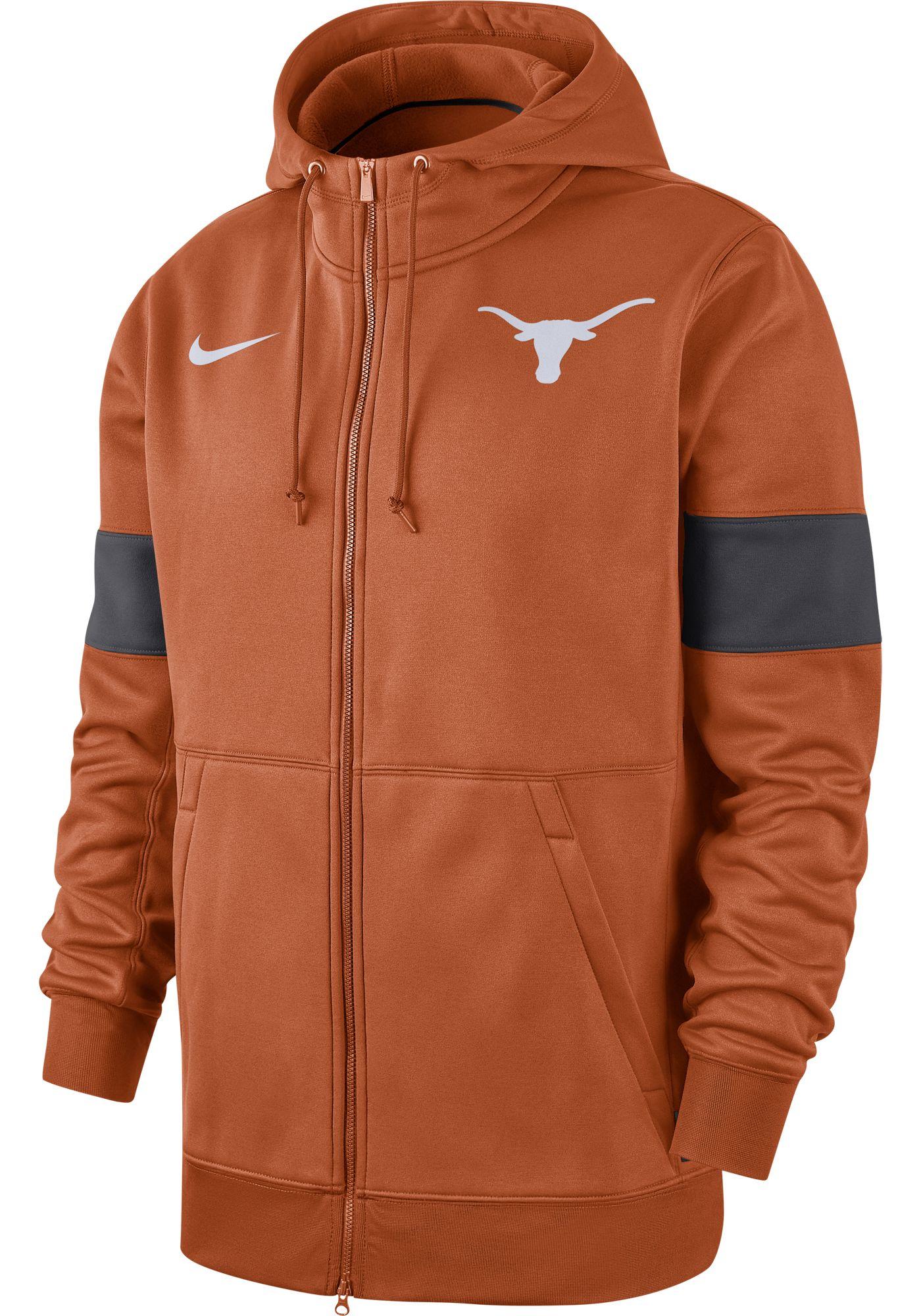Nike Men's Texas Longhorns Burnt Orange Therma Football Sideline Full-Zip Hoodie