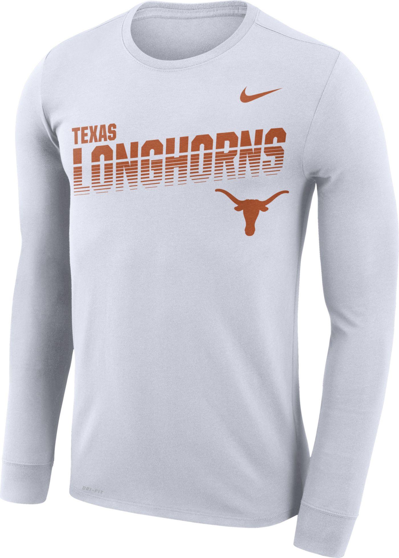 Nike Men's Texas Longhorns Legend Football Sideline Long Sleeve White T-Shirt