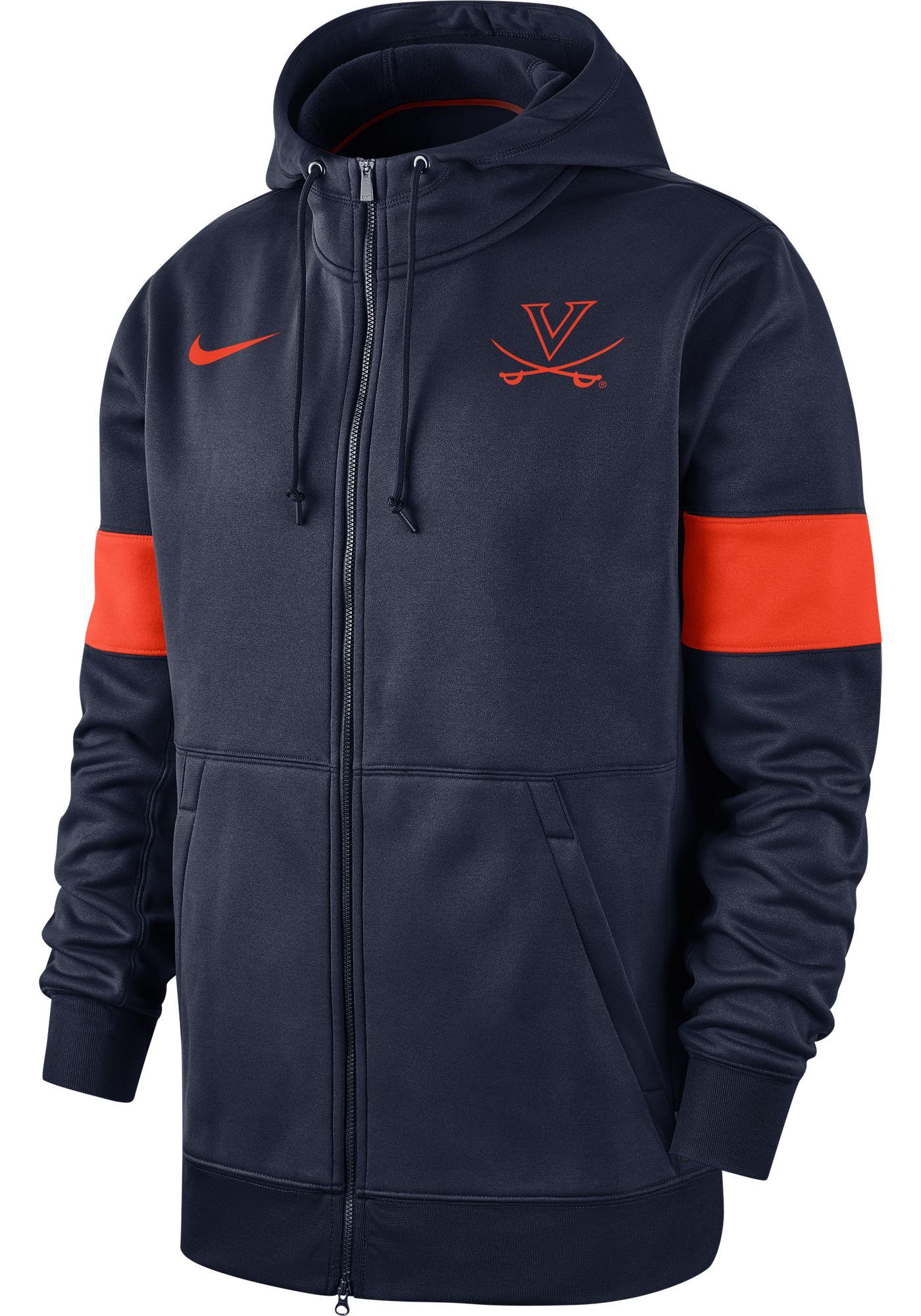 Nike Men's Virginia Cavaliers Blue Therma Football Sideline Full-Zip Hoodie