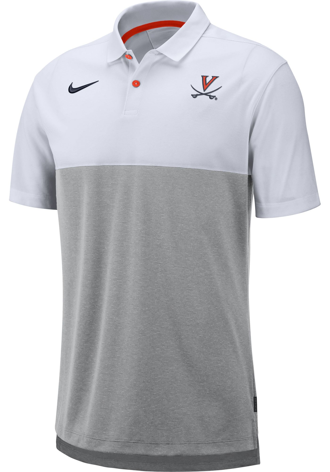Nike Men's Virginia Cavaliers White/Grey Dri-FIT Breathe Football Sideline Polo