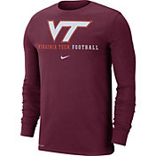 Nike Men's Virginia Tech Hokies Maroon Football Icon Wordmark Long Sleeve T-Shirt