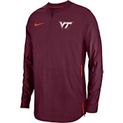 Nike Men's Virginia Tech Hokies Maroon Lockdown Football Quarter-Zip Jacket