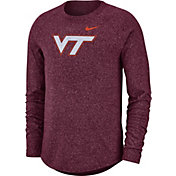 Nike Men's Virginia Tech Hokies Maroon Marled Raglan Long Sleeve T-Shirt