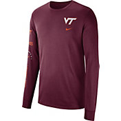 Nike Men's Virginia Tech Hokies Maroon Dri-FIT Elevated Basketball Long Sleeve Shirt