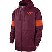 Nike Men's Virginia Tech Hokies Maroon Therma Football Sideline Full-Zip Hoodie