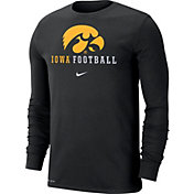 Nike Men's Iowa Hawkeyes Football Icon Wordmark Long Sleeve Black T-Shirt