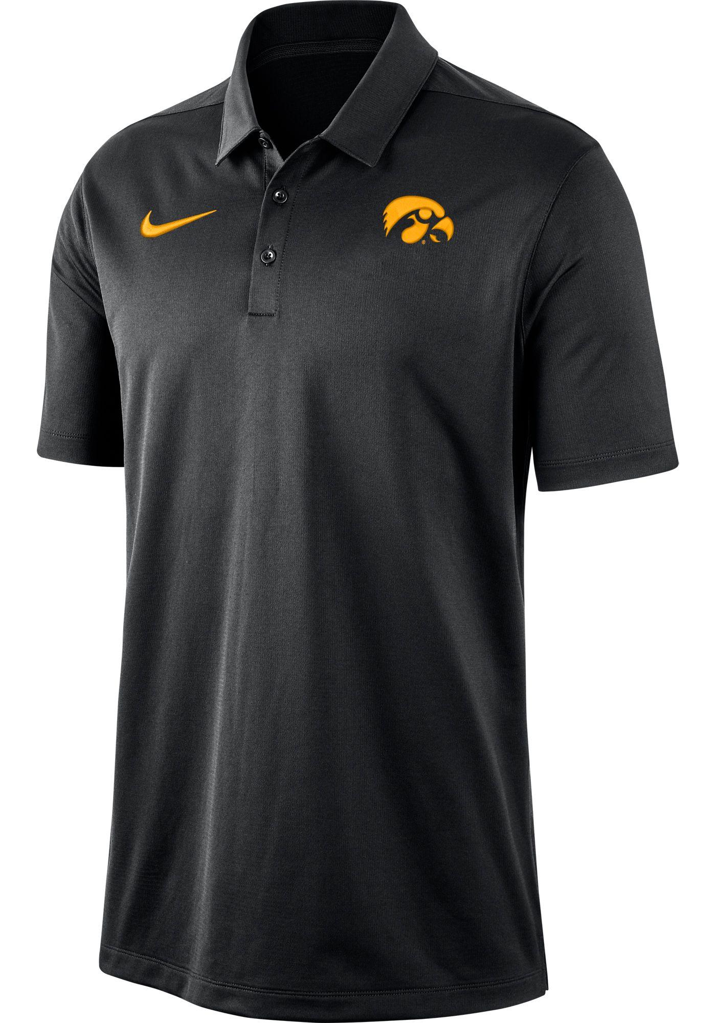 Nike Men's Iowa Hawkeyes Dri-FIT Franchise Black Polo
