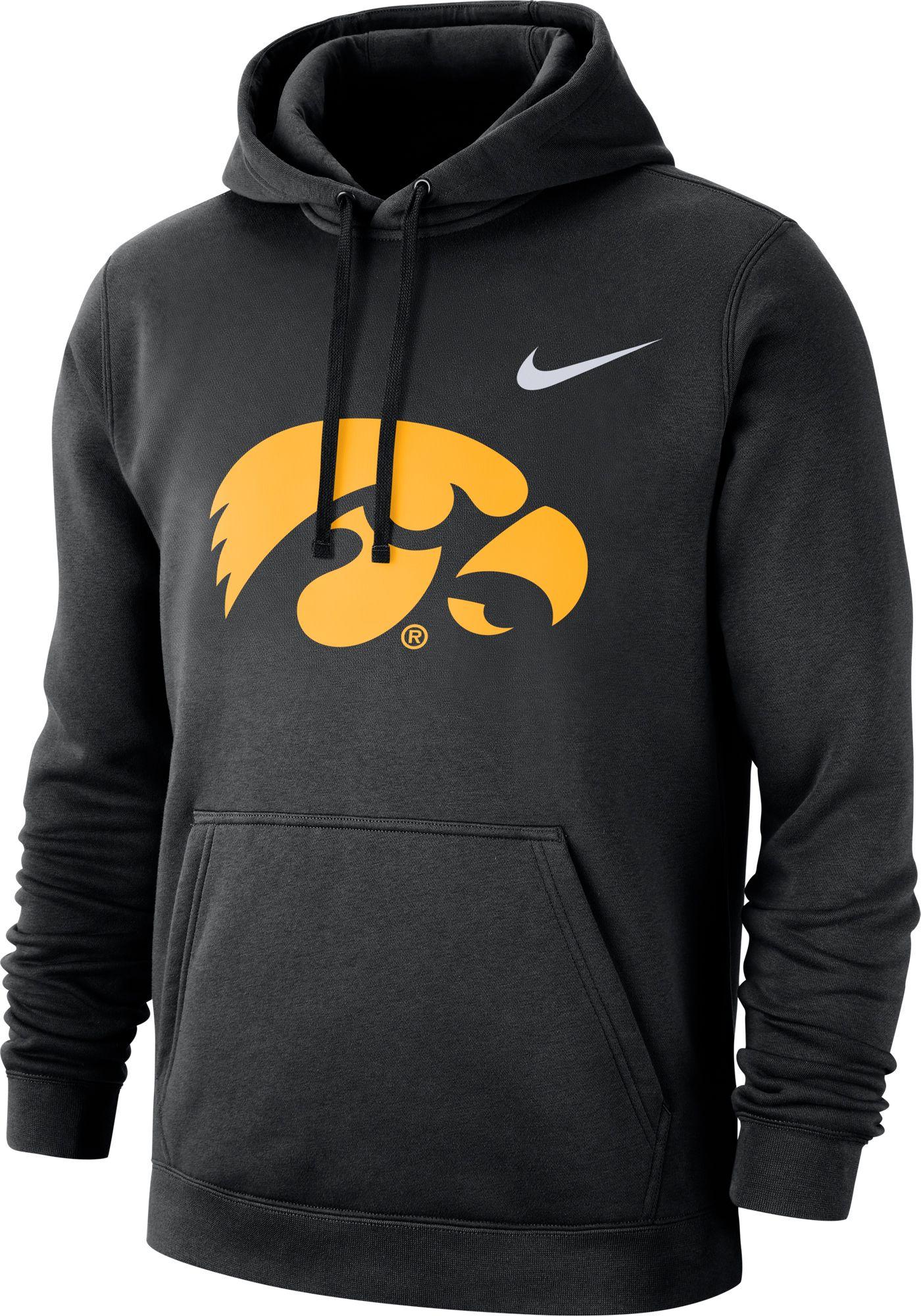 Nike Men's Iowa Hawkeyes Club Fleece Pullover Black Hoodie