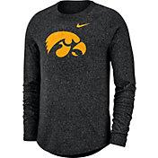 Nike Men's Iowa Hawkeyes Marled Raglan Long Sleeve Black T-Shirt