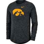 Nike Men's Iowa Hawkeyes Marled Raglan Long Sleeve Black T-Shirt