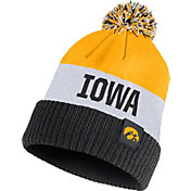 Nike Men's Iowa Hawkeyes Gold/White/Black Striped Cuffed Pom Beanie