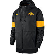 Nike Men's Iowa Hawkeyes Therma Football Sideline Full-Zip Black Hoodie