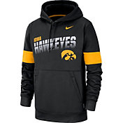 Nike Men's Iowa Hawkeyes Therma Football Sideline Pullover Black Hoodie