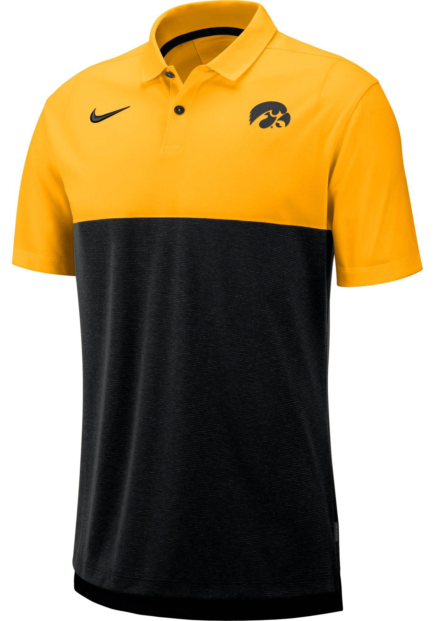 Nike Men's Iowa Hawkeyes Gold/Black Dri-FIT Breathe Football Sideline Polo