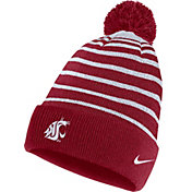 Nike Men's Washington State Cougars Crimson Football Sideline Cuffed Pom Beanie