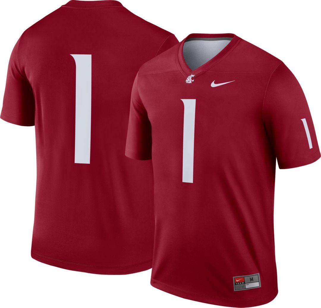 sports shoes f3d1a 2fa56 Nike Men's Washington State Cougars #1 Crimson Dri-FIT Legend Football  Jersey