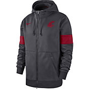 Nike Men's Washington State Cougars Grey Therma Football Sideline Full-Zip Hoodie