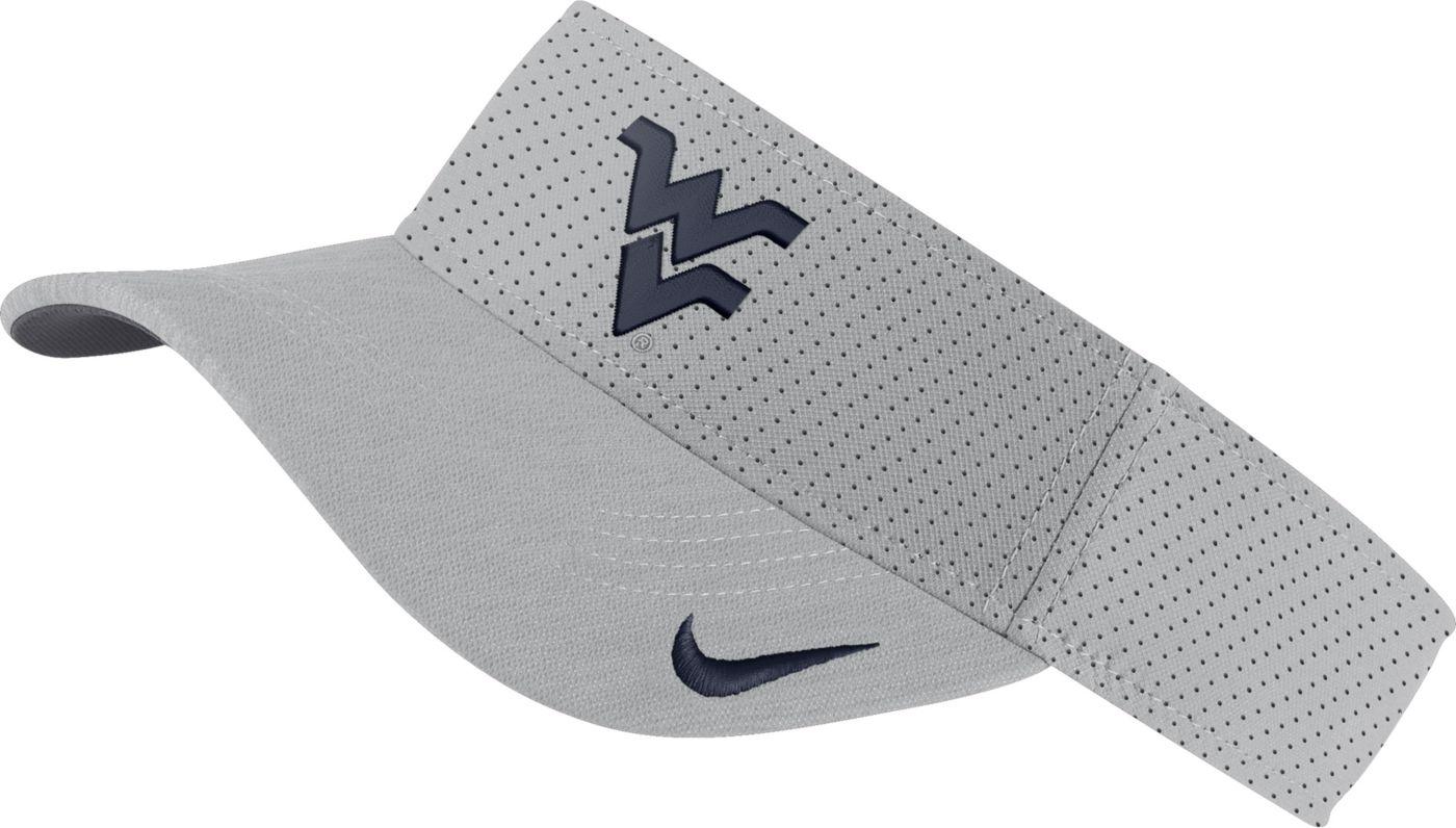 Nike Men's West Virginia Mountaineers Grey AeroBill Football Sideline Visor