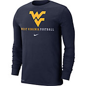 Nike Men's West Virginia Mountaineers Blue Football Icon Wordmark Long Sleeve T-Shirt