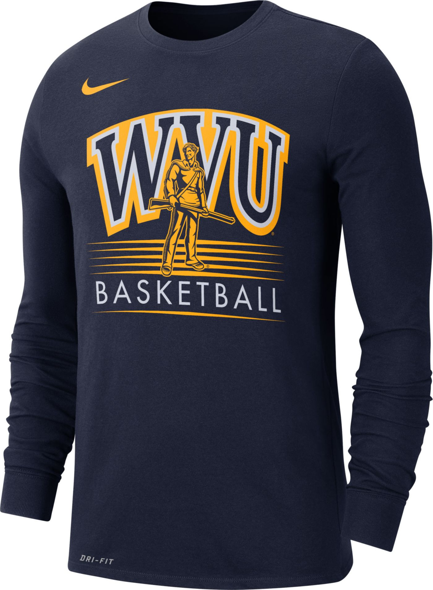 Nike Men's West Virginia Mountaineers Blue Dri-FIT Retro Long Sleeve Basketball T-Shirt