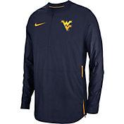 Nike Men's West Virginia Mountaineers Blue Lockdown Football Quarter-Zip Jacket
