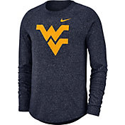 Nike Men's West Virginia Mountaineers Blue Marled Raglan Long Sleeve T-Shirt