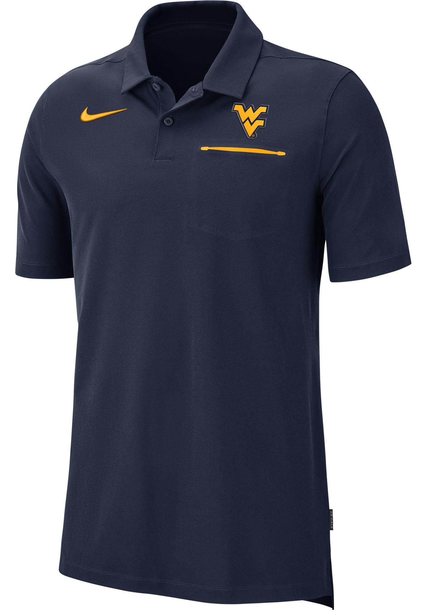 Nike Men's West Virginia Mountaineers Blue Dri-FIT Elite Football Sideline Polo
