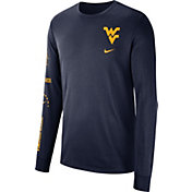 Nike Men's West Virginia Mountaineers Blue Dri-FIT Elevated Basketball Long Sleeve Shirt