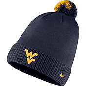 Nike Men's West Virginia Mountaineers Blue Football Sideline Pom Beanie