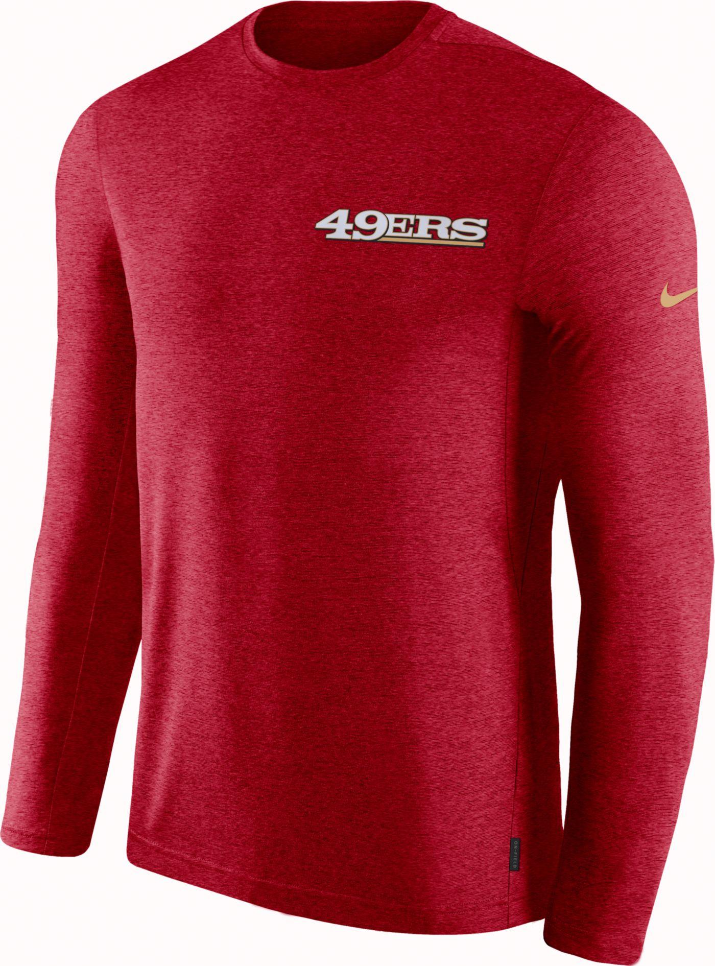 Nike Men's San Francisco 49ers Sideline Coach Performance Red Long Sleeve Shirt
