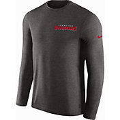 Nike Men's Tampa Bay Buccaneers Sideline Coach Performance Pewter Long Sleeve Shirt