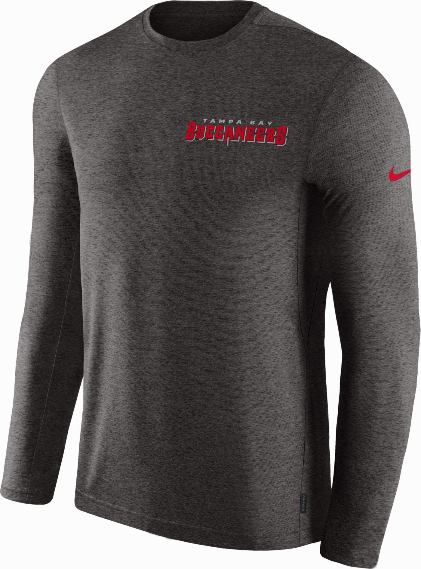 Nike Men's Tampa Bay Buccaneers Sideline Coach Performance Pewter Long Sleeve Shirt