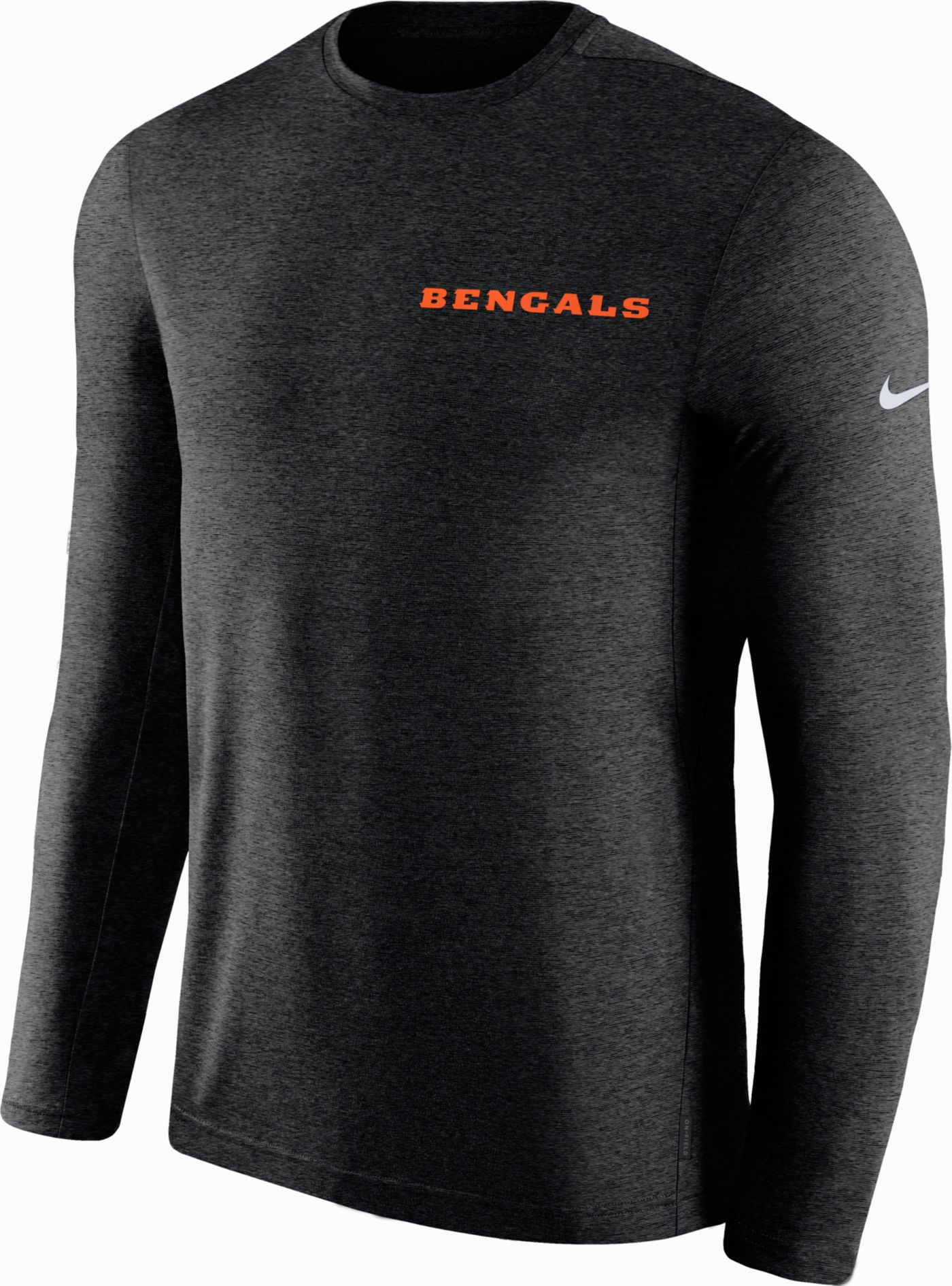 Nike Men's Cincinnati Bengals Sideline Coach Performance Black Long Sleeve Shirt