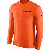 Nike Men's Denver Broncos Sideline Coach Performance Orange Long Sleeve Shirt