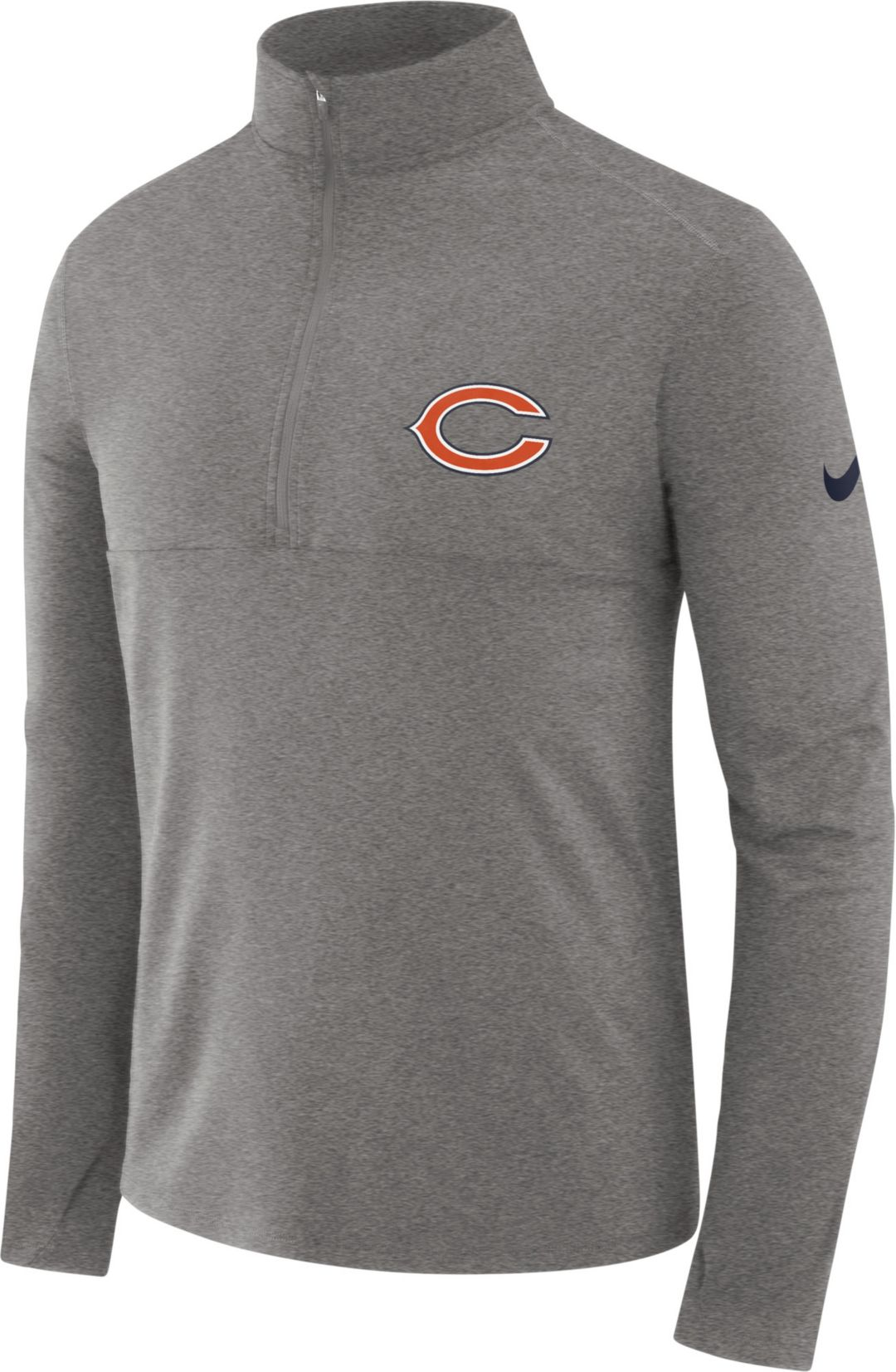 new style 2ce12 1c764 Nike Men's Chicago Bears Core Performance Grey Half-Zip Pullover Top