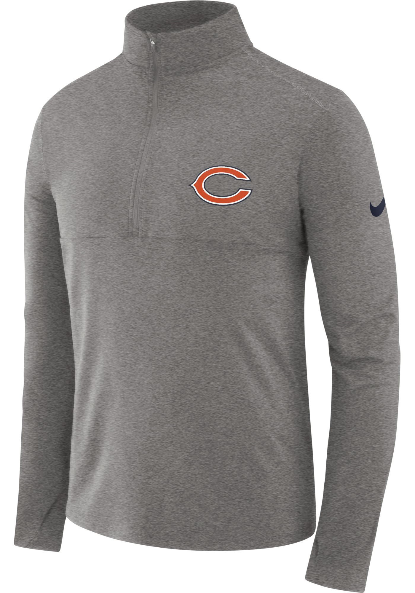 Nike Men's Chicago Bears Core Performance Grey Half-Zip Pullover Top