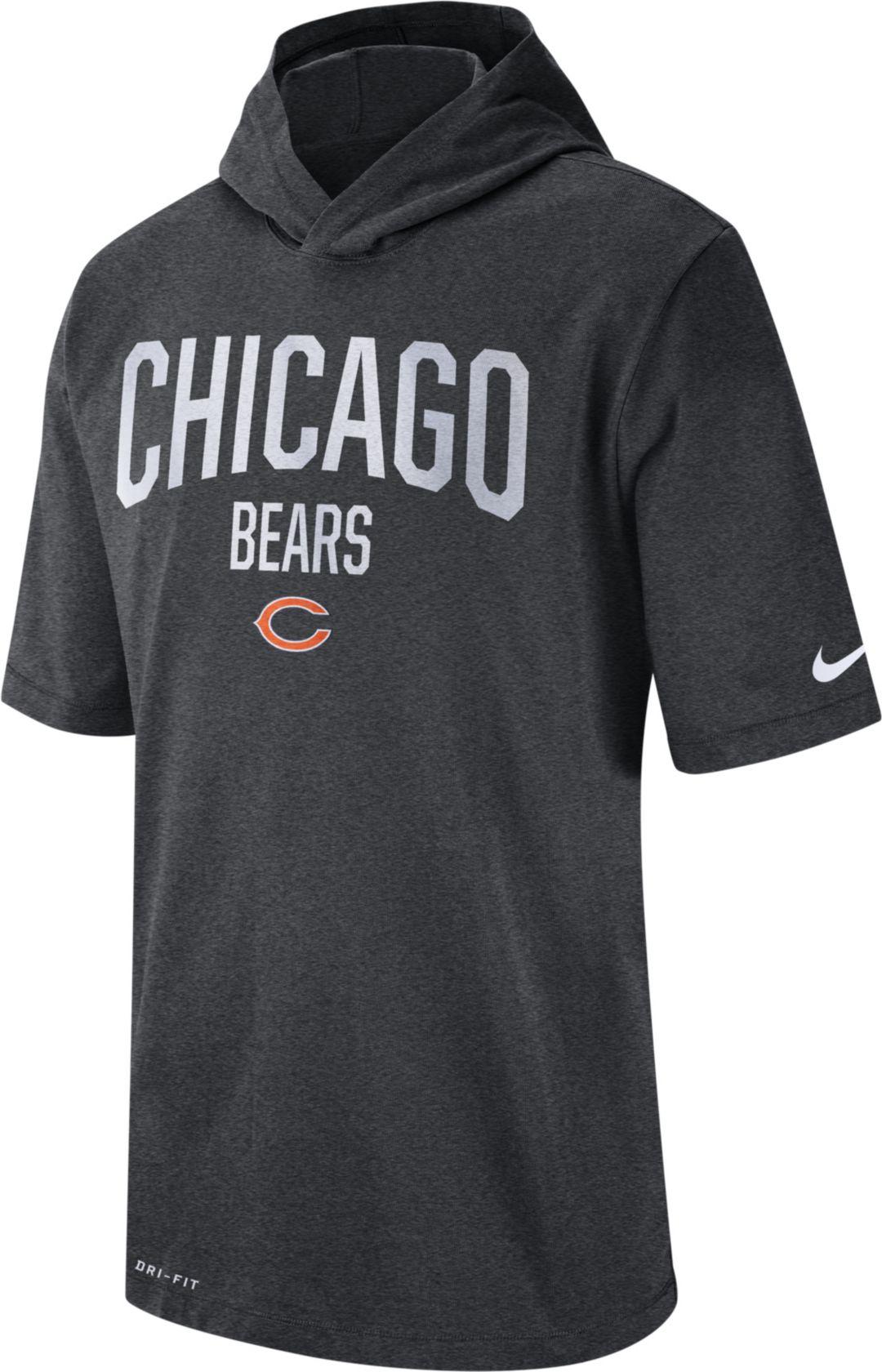 13cca2c3 Nike Men's Chicago Bears Sideline Charcoal Short-Sleeve Hoodie T-Shirt