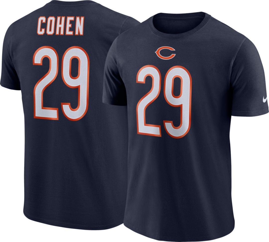 newest abd3d 799d0 Nike Men's Chicago Bears Tarik Cohen #29 Logo Navy T-Shirt