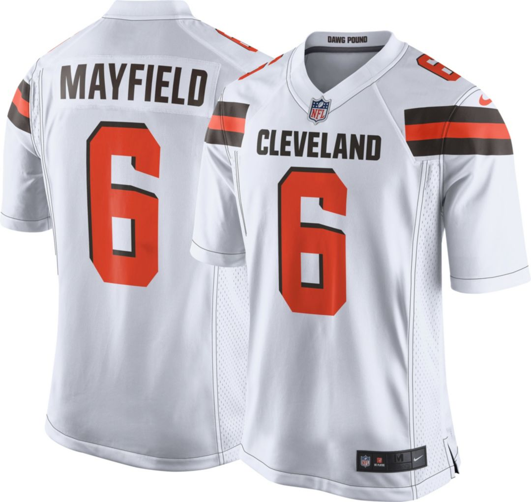newest ab760 45bdc Nike Men's Away Game Jersey Cleveland Browns Baker Mayfield #6
