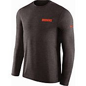 Nike Men's Cleveland Browns Sideline Coach Performance Brown Long Sleeve Shirt