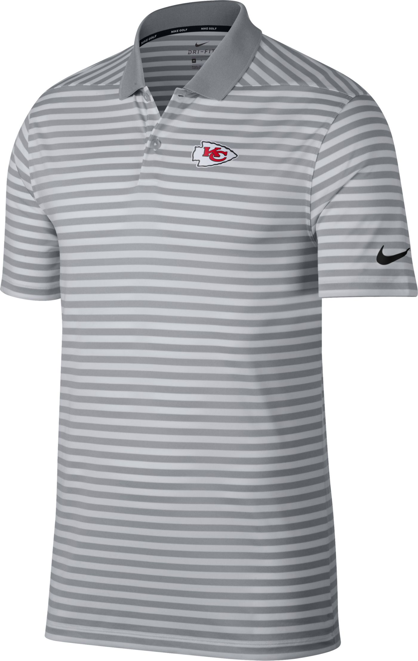 Nike Men's Kansas City Chiefs Victory Stripe Grey Golf Polo