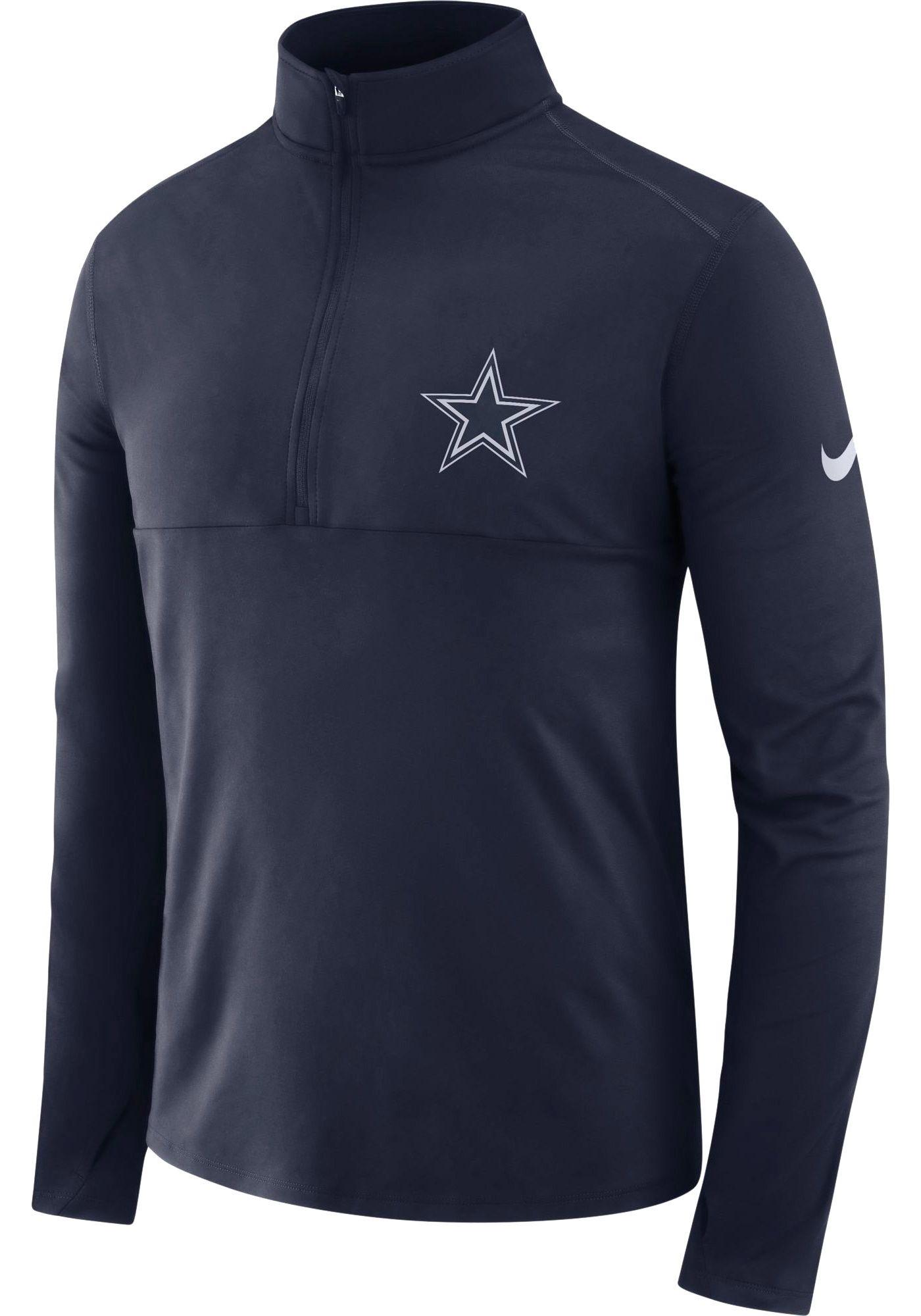 Nike Men's Dallas Cowboys Core Performance Navy Half-Zip Pullover Top