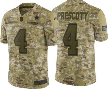 Nike Men s Salute to Service Dallas Cowboys Dak Prescott  4 Camouflage  Limited Jersey. noImageFound e70c5e791