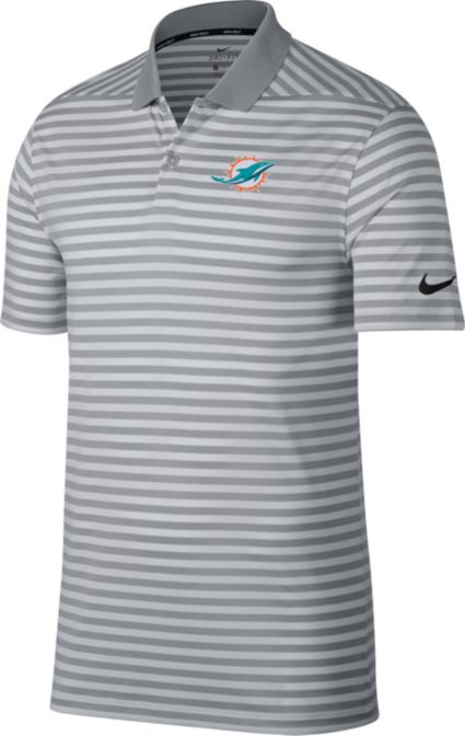 Nike Men's Miami Dolphins Victory Stripe Grey Golf Polo