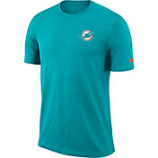 Nike Men's Miami Dolphins Sideline Coaches Performance Aqua T-Shirt