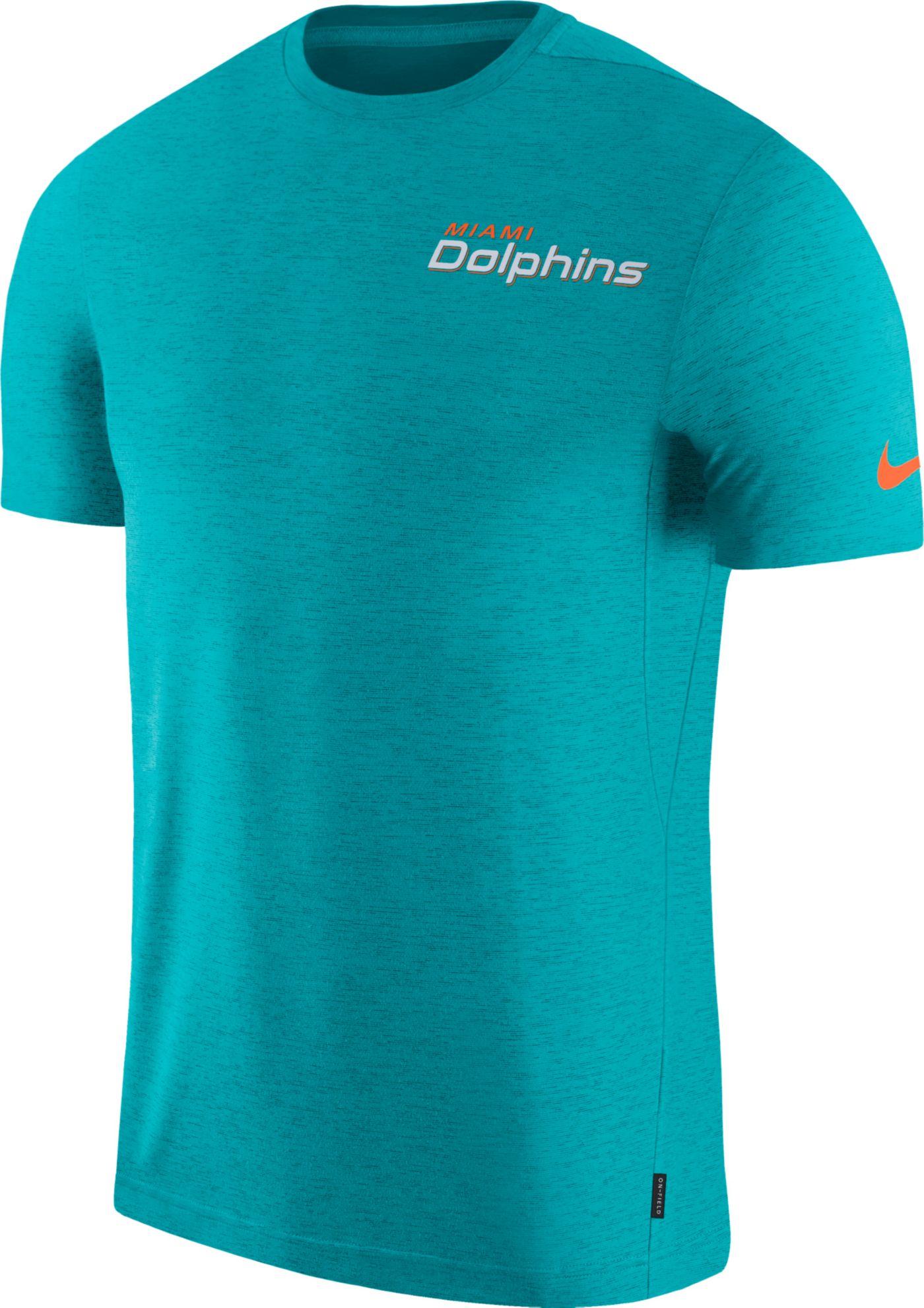 Nike Men's Miami Dolphins Sideline Coach Performance Aqua T-Shirt