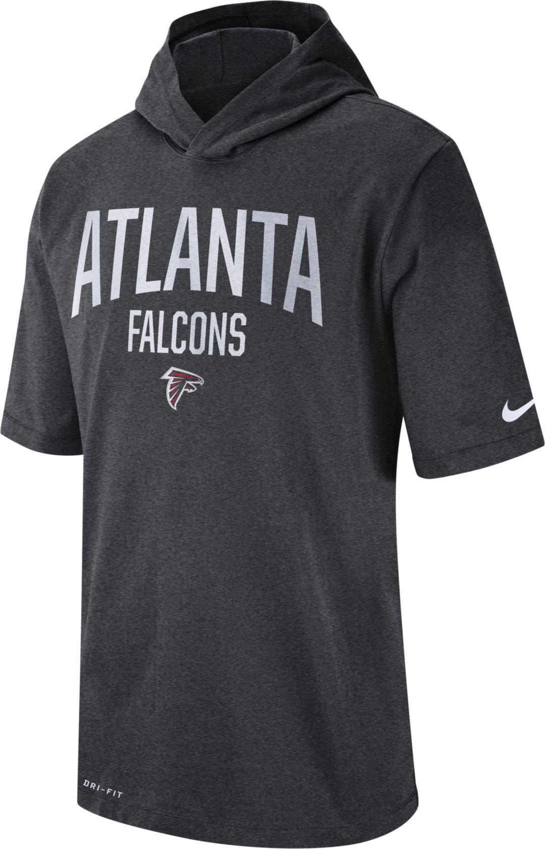 reputable site 79f15 b75d1 Nike Men's Atlanta Falcons Sideline Charcoal Short-Sleeve Hoodie T-Shirt
