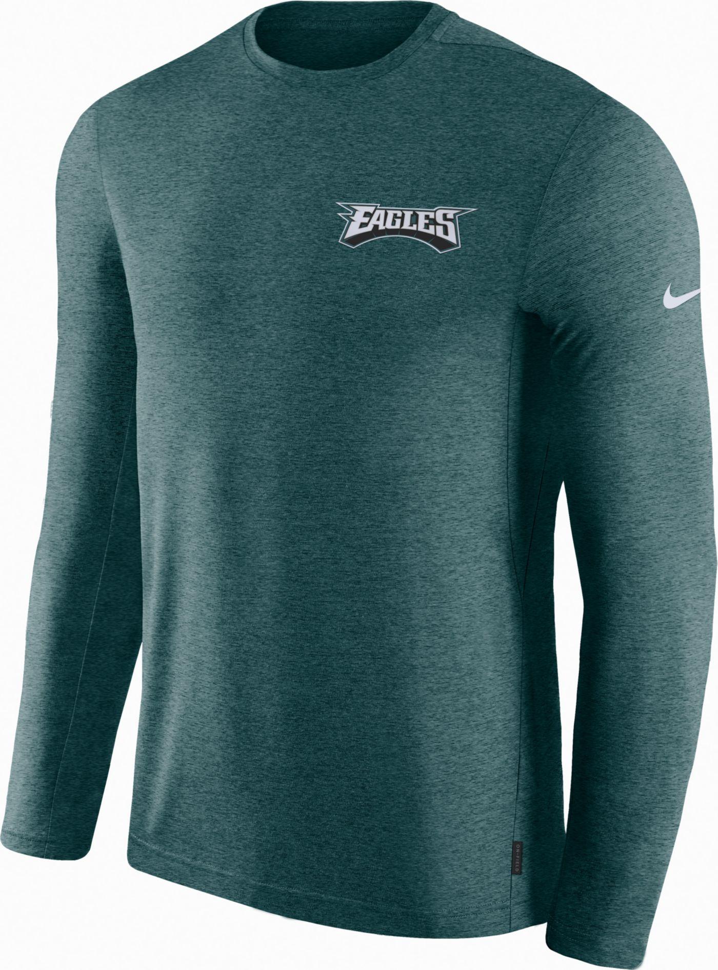 Nike Men's Philadelphia Eagles Sideline Coach Performance Green Long Sleeve Shirt